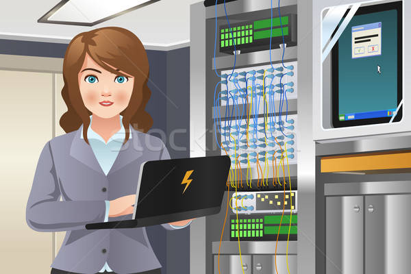 Woman Working in Computer Server Room Stock photo © artisticco