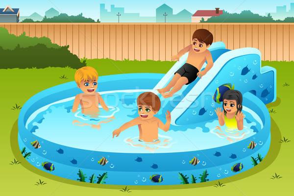 детей играет надувной бассейна задний двор улыбка Сток-фото © artisticco