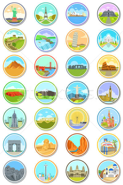 World Landmarks Travel Icons Stock photo © artisticco