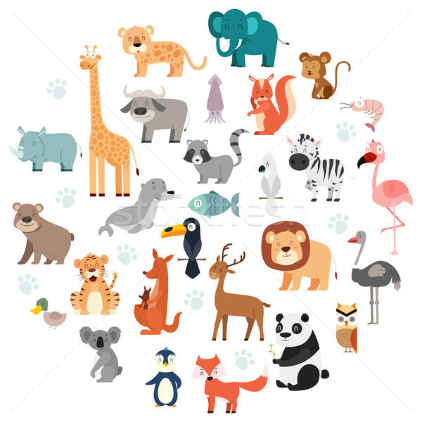 Wildlife Animals Cartoon Set Stock photo © artisticco