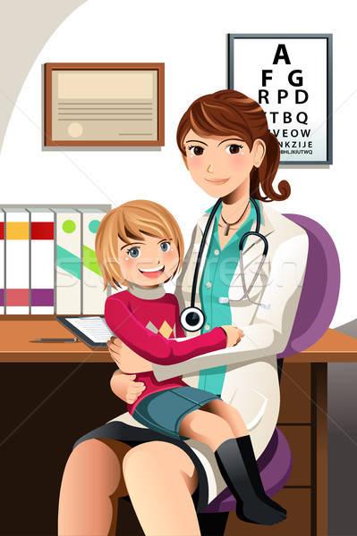 Kinderarts kind weinig vergadering vrouw arts Stockfoto © artisticco