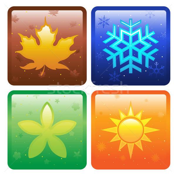 Ikona cztery pory roku wiosną słońce liści lata Zdjęcia stock © artisticco