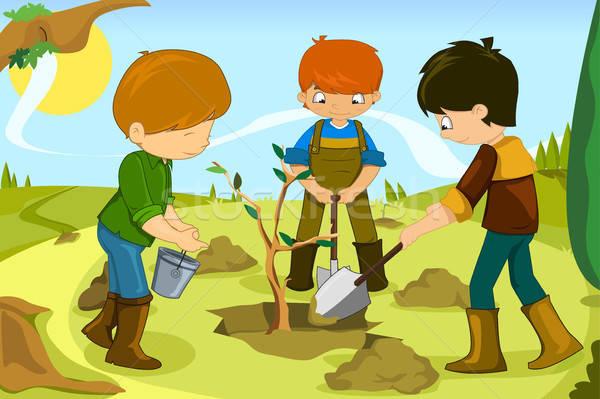 Voluntário crianças voluntariado árvore juntos Foto stock © artisticco