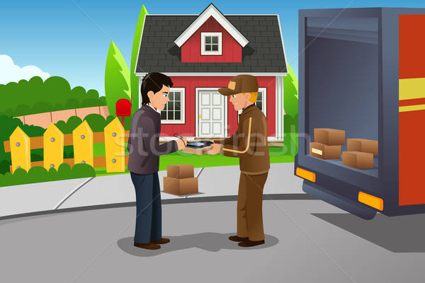 Postbode pakket vrachtwagen mannen mailbox tekening Stockfoto © artisticco