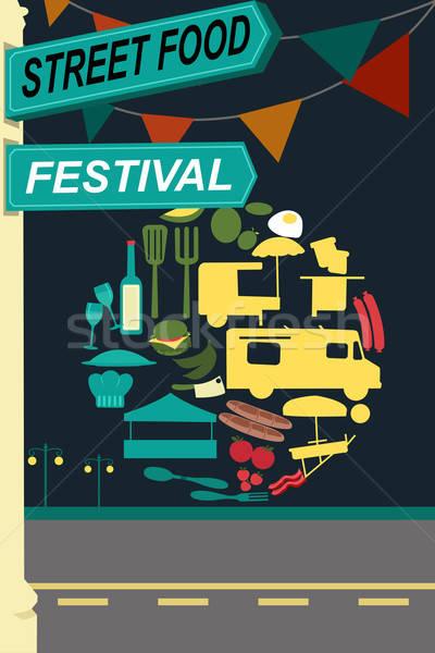 Street food festival pamphlet Stock photo © artisticco