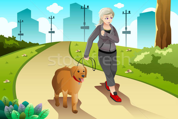 Old lady exercising with her dog outdoor Stock photo © artisticco
