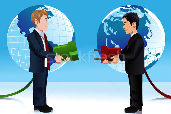Business concept of connecting Eastern and Western world Stock photo © artisticco