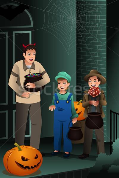 Little Kids Wearing Halloween Costumes Stock photo © artisticco