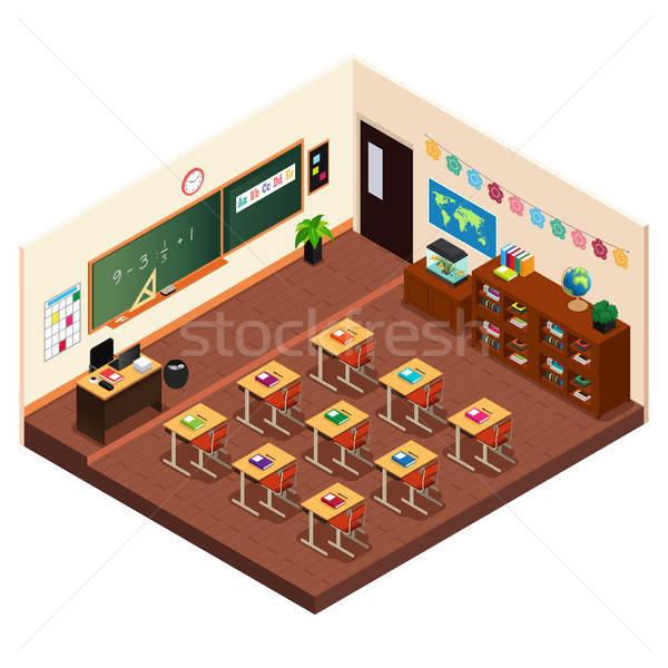 Escuela primaria aula escuela mesa silla Foto stock © artisticco