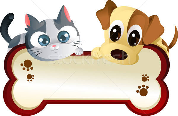 Dog and cat with banner Stock photo © artisticco