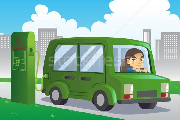Elektrische auto station stad groene stedelijke energie Stockfoto © artisticco