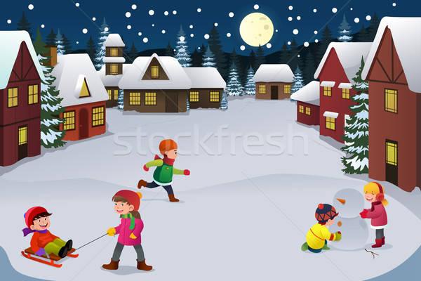 Ninos jugando invierno mundo maravilloso feliz junto ninos Foto stock © artisticco
