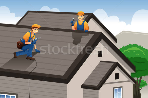 Roofer working on the roof  Stock photo © artisticco