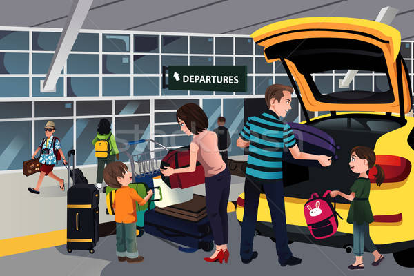 Family traveler outside the airport Stock photo © artisticco