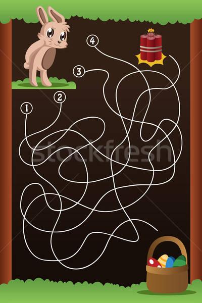 Labirintus játék segítség nyúl talál út Stock fotó © artisticco