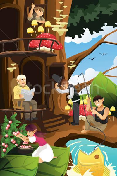 Elf vita albero casa pesca femminile Foto d'archivio © artisticco