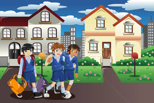 Yaralı çocuk yürüyüş ev okul arkadaşlar Stok fotoğraf © artisticco