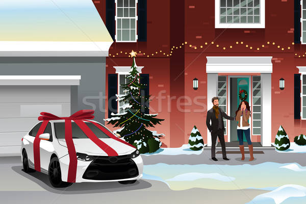 Husband Giving Wife Christmas Gift Stock photo © artisticco