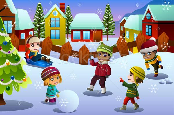 Oynayan çocuklar kar kış sezonu çocuklar çocuklar kış Stok fotoğraf © artisticco