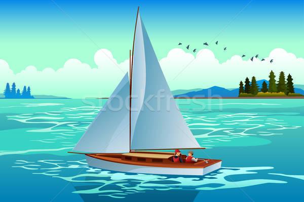 Emberek vitorlázik tenger férfi terv pár Stock fotó © artisticco