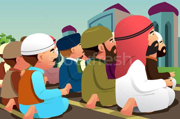 Dua eden cami erkekler dua çizim karikatür Stok fotoğraf © artisticco