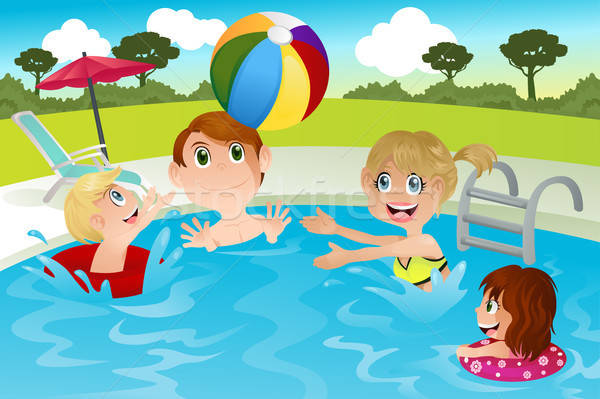 Family in swimming pool Stock photo © artisticco