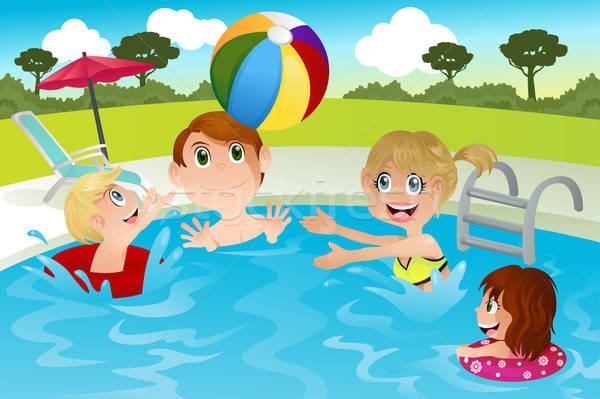 Aile yüzme havuzu mutlu aile oynama adam çocuklar Stok fotoğraf © artisticco