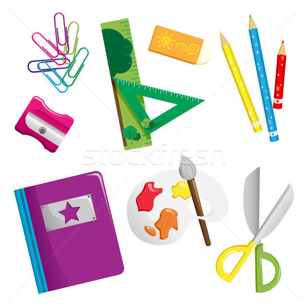 школьные принадлежности иконки книга рисунок ножницы карандашей Сток-фото © artisticco