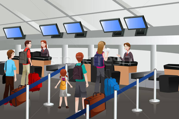 Lining up at the check-in counter in the airport  Stock photo © artisticco