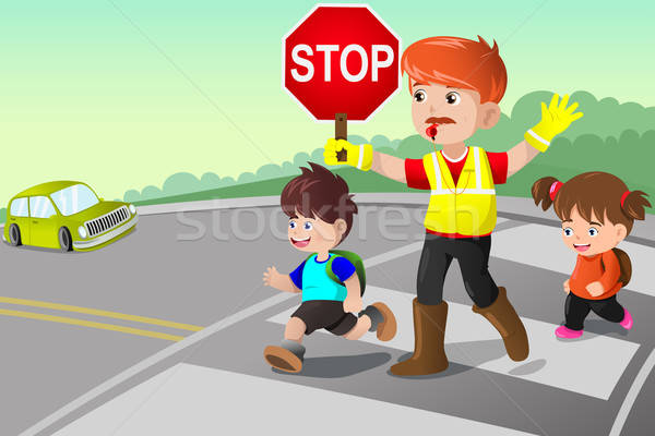 Flagger and kids crossing the street Stock photo © artisticco