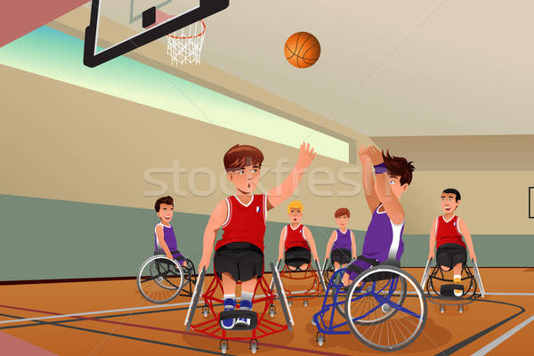 Stock photo: Men in wheelchairs playing basketball
