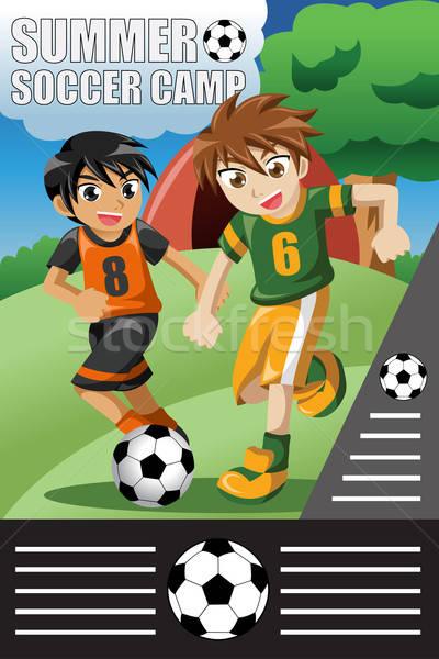 Nyár futball tábor terv mosoly gyerekek Stock fotó © artisticco