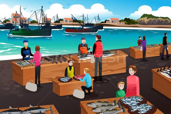 Fish Market Scene Stock photo © artisticco