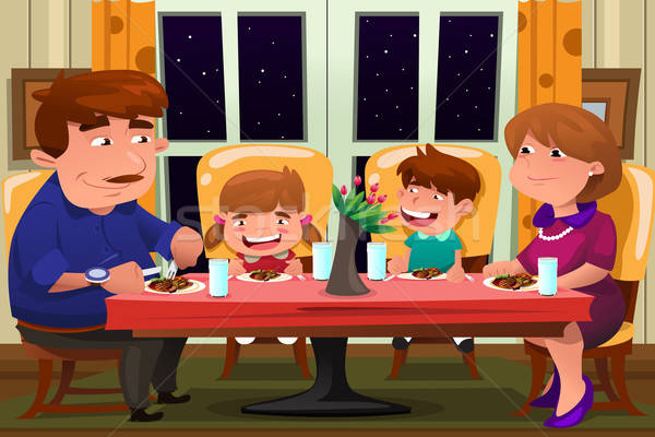 Family Eating Together Stock photo © artisticco
