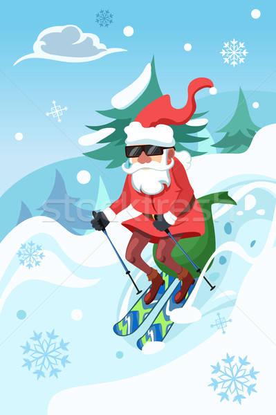 Mikulás lovaglás hódeszka játékok ajándék karácsony Stock fotó © artisticco
