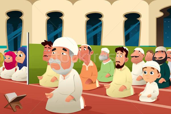 Imádkozik mecset istentisztelet ima rajz férfi Stock fotó © artisticco