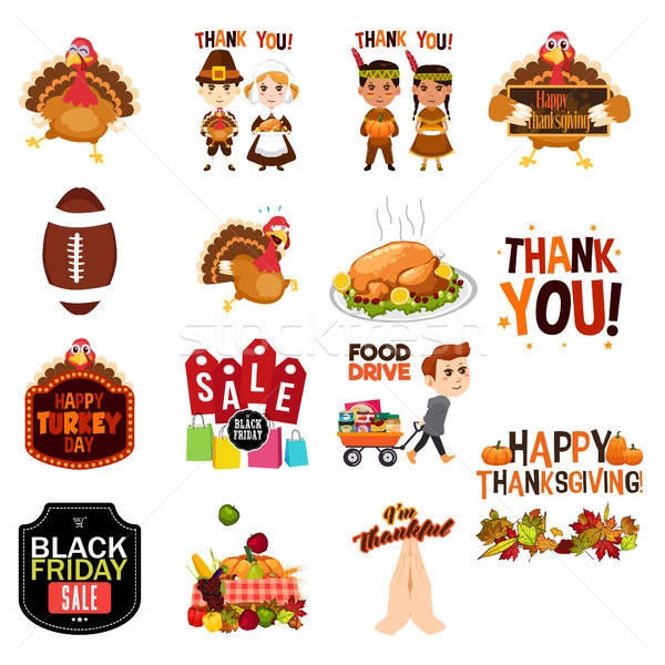 Thanksgiving Cliparts Illustrations Icons Stock photo © artisticco
