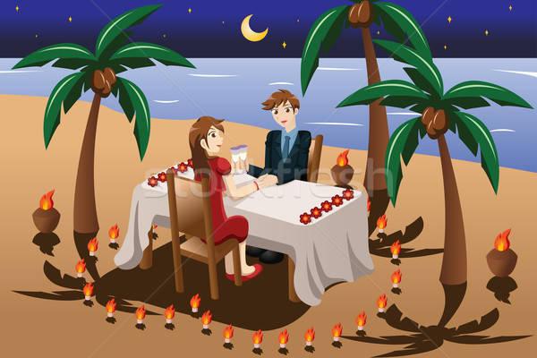 Couple having romantic candle light dinner Stock photo © artisticco