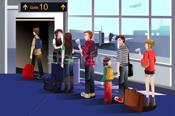 People boarding the airplane at the gate Stock photo © artisticco