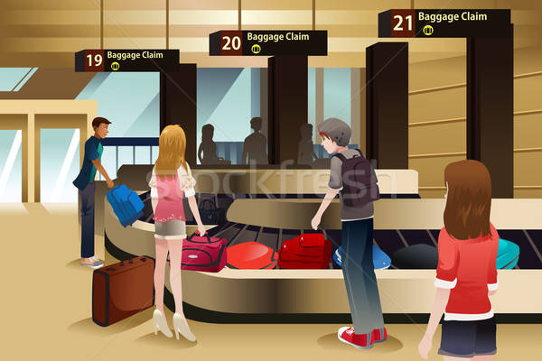Travelers waiting for their baggage Stock photo © artisticco