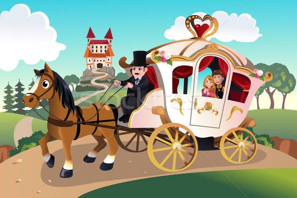 Príncipe princesa cavalo homens castelo Foto stock © artisticco