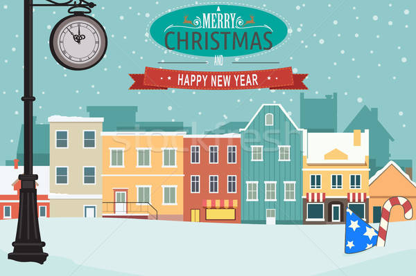Village During Winter for Christmas Greeting Card Stock photo © artisticco