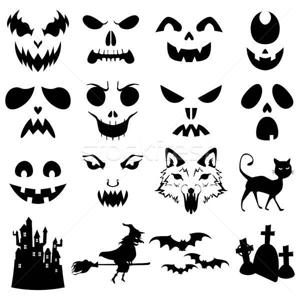 Halloween Pumpkins Carved Silhouettes Template Stock photo © artisticco