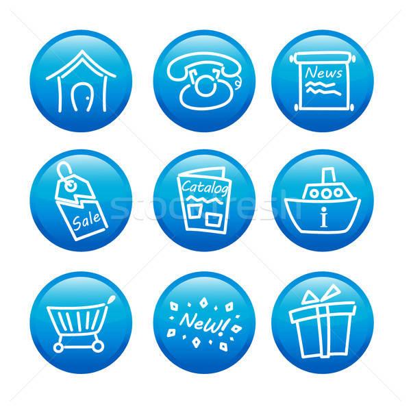 Web ikony działalności domu wiadomości dar Zdjęcia stock © artisticco