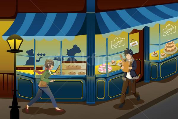 Francia pékség bolt üzlet nő épület Stock fotó © artisticco