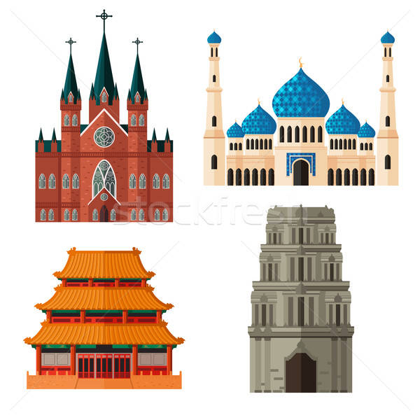 Set of Place of Worship for Different Religions Stock photo © artisticco