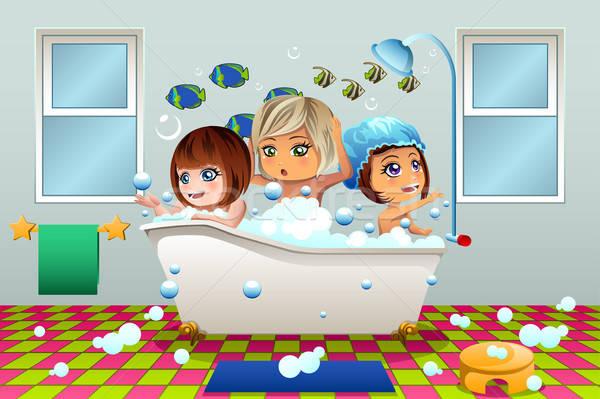 女の子 泡風呂 少女 子供 子供 バス ストックフォト © artisticco