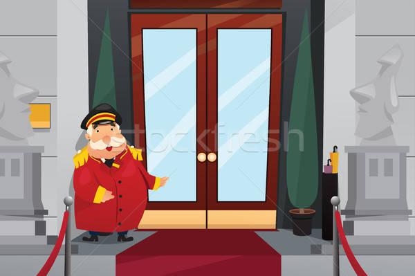 áll bejárat ajtók épület hotel munkás Stock fotó © artisticco