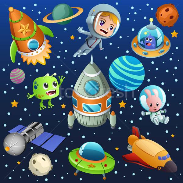 űr bolygó űrhajós poszter illusztráció égbolt Stock fotó © artisticco