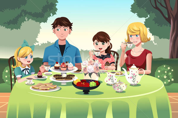 Family having a tea party together Stock photo © artisticco